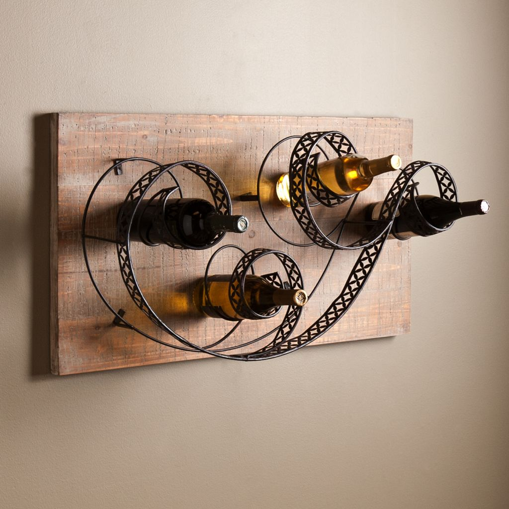 449-967 - NeuBold Home Sealy Artistic Swirl Rustic Wall Mount Wine Rack