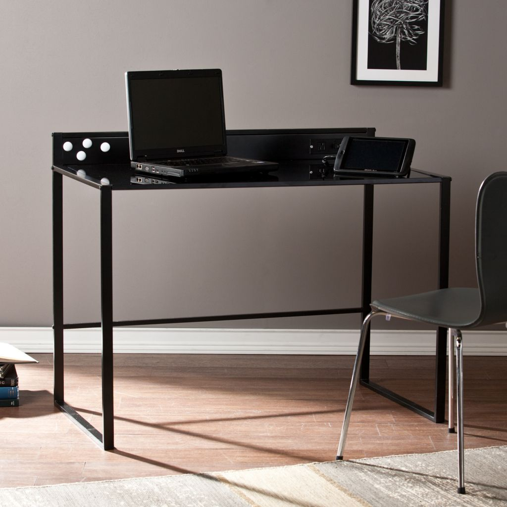 449-981 - NeuBold Home Black Metal & Glass Desk w/ AC & USB Outlets