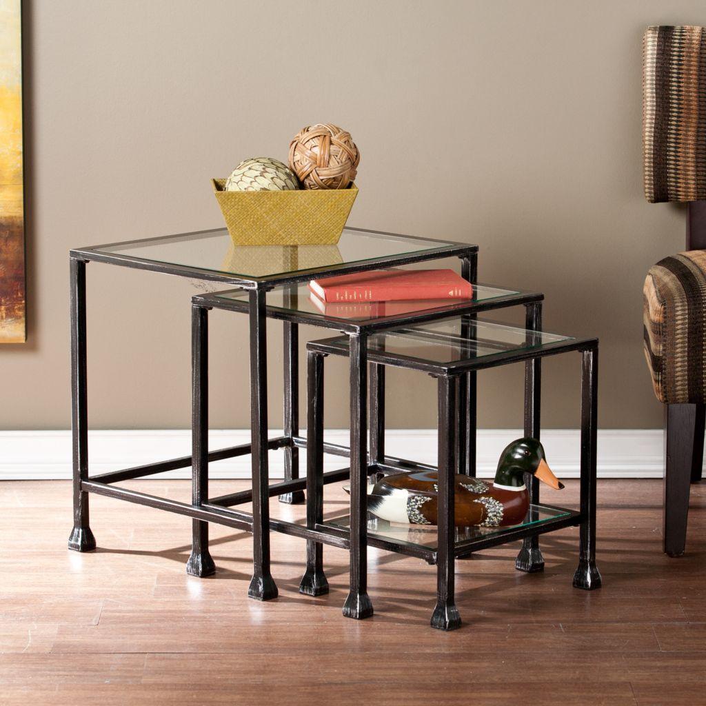 449-983 - NeuBold Home Set of Three Square Metal & Glass Nesting Tables