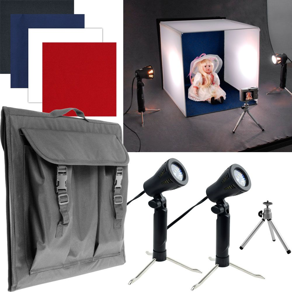 449-990 - Tabletop Photo Studio w/ Lighting Box, Two Lights, Adjustable Tripod & Carrying Case