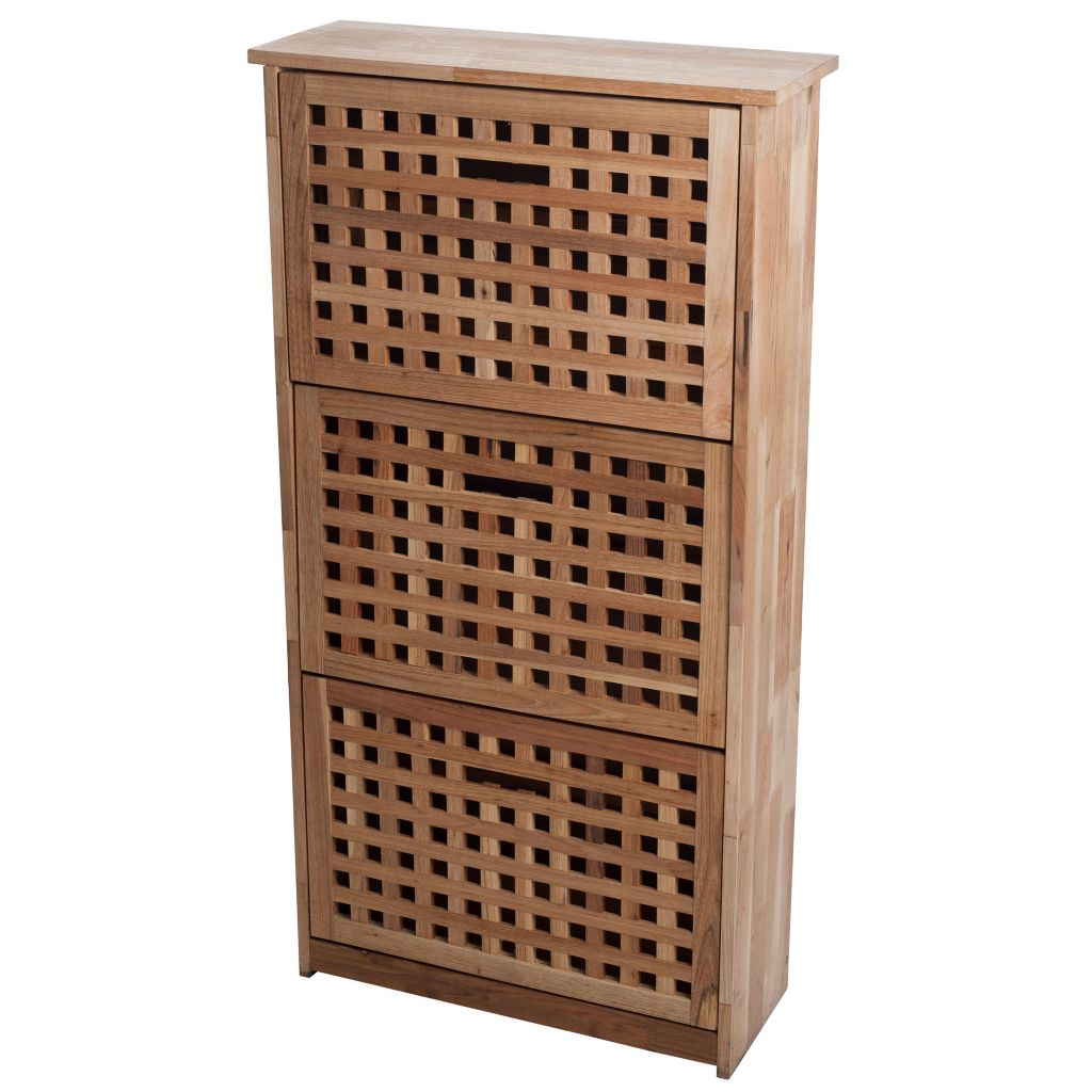 450-024 - Lavish Home Three-Drawer Wooden Shoe Storage Cabinet