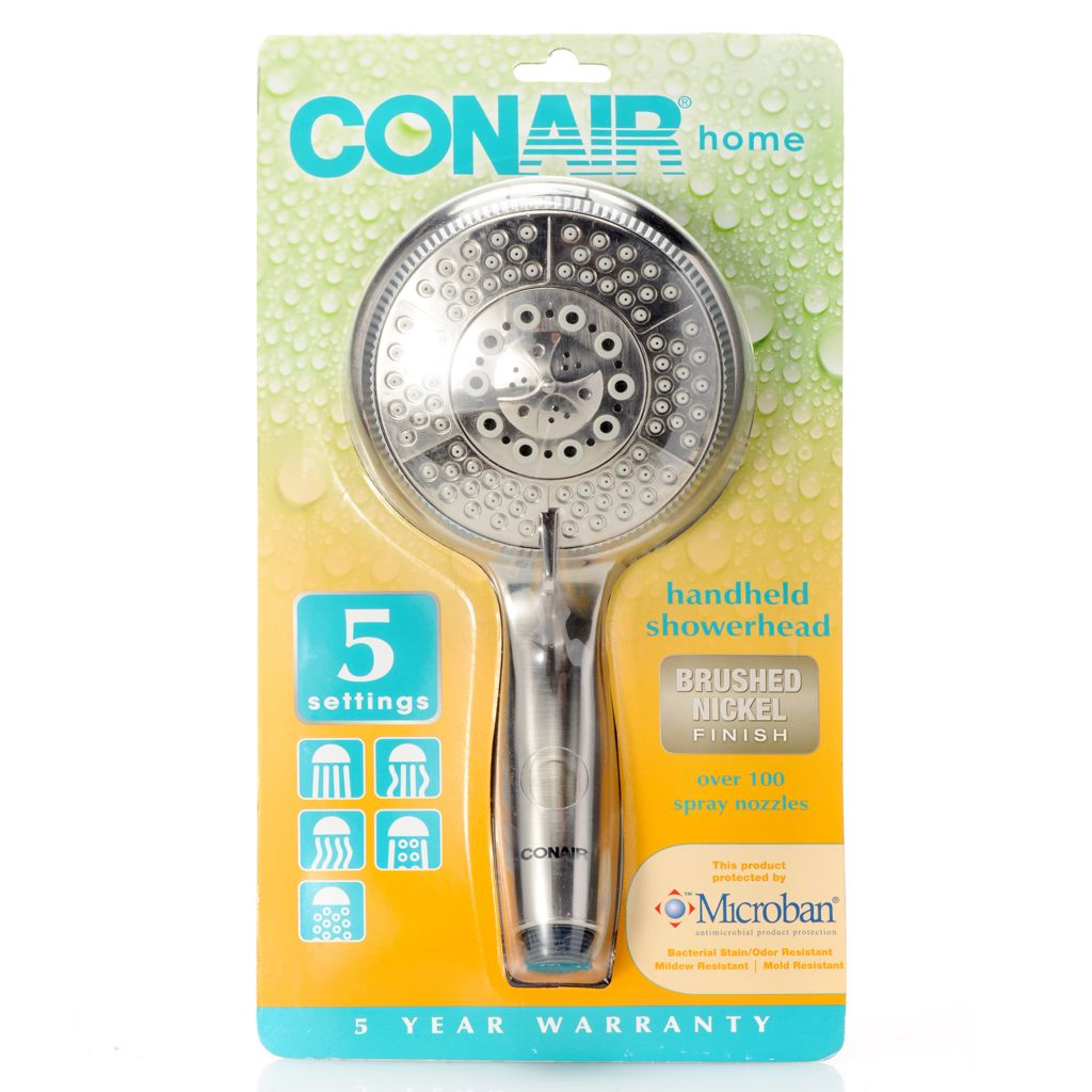 450-028 - Conair® Handheld Showerhead w/ Five Spray Settings & Microban® Protection