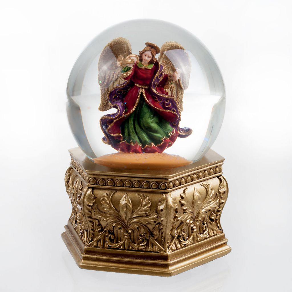 450-039 - San Francisco Music Box Factory Golden Opulence Angel Water Globe