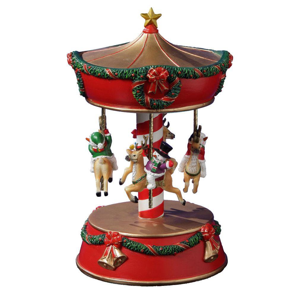 450-043 - San Francisco Music Box Factory Snowmen & Reindeer Carousel