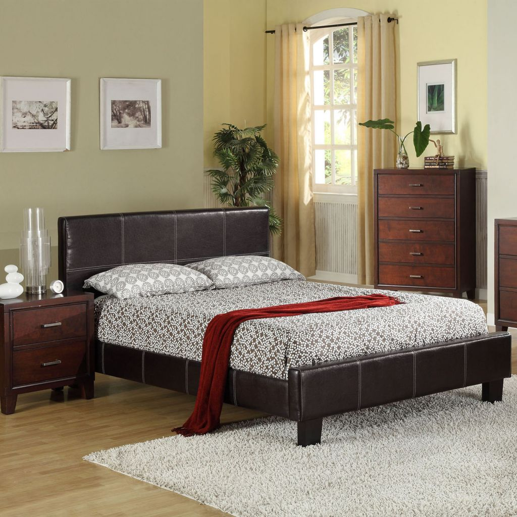 "450-113 - Furniture of America™ ""Aura"" Dark Espresso Leatherette Upholstery Bed"