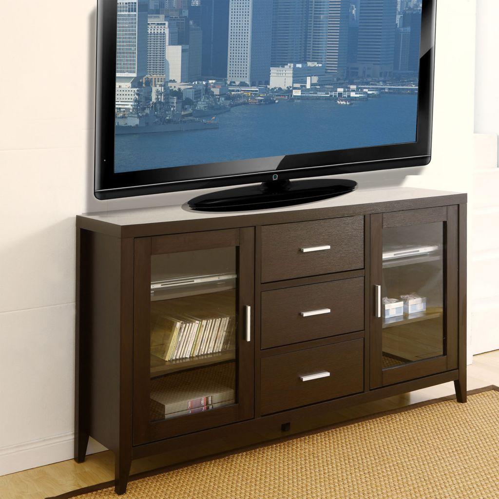 "450-124 - Furniture of America™ 60"" Vega Espresso Three-Drawer TV Cabinet"