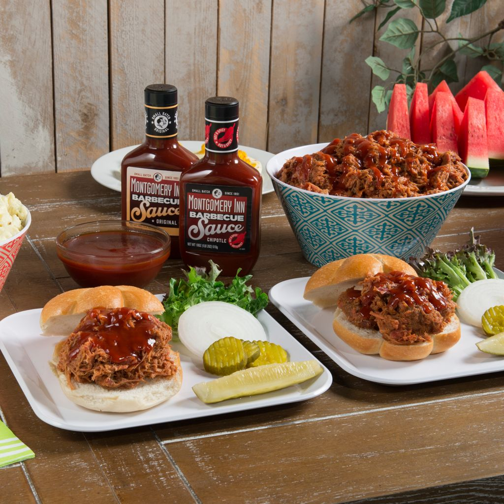 450-234 - Montgomery Inn Set of Three 2 lbs Smoked Pulled Pork w/ BBQ Sauce Duo