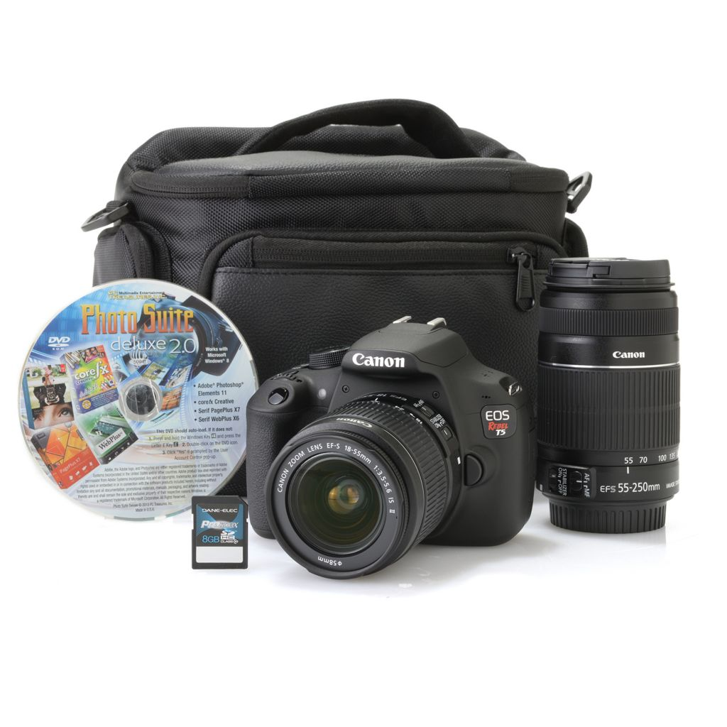 450-238 - Canon EOS Rebel T5 SLR 18MP Camera w/ Two Lens, 8GB SD Card, Photo Software & Bag