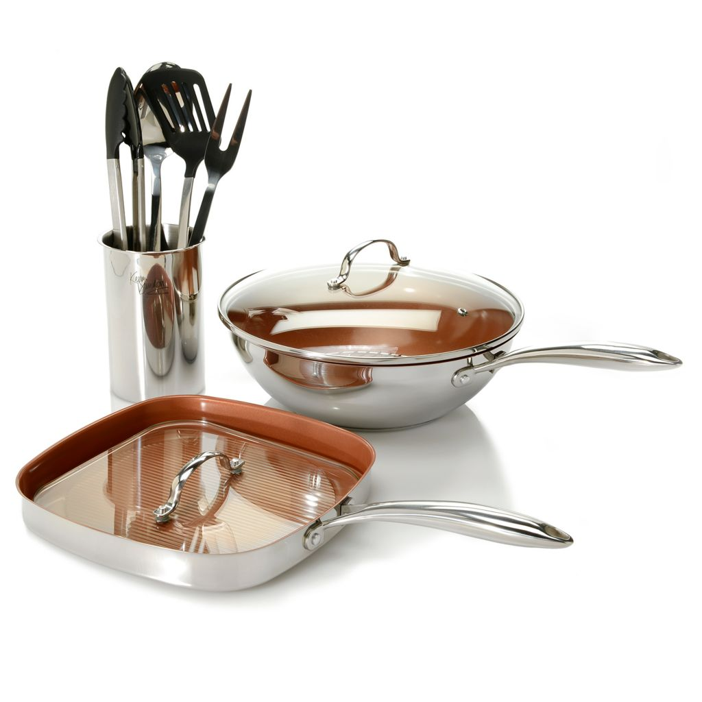 450-257 - Kevin Dundon Stainless Steel Color Ceramic Nonstick 10-Piece Cookware Set