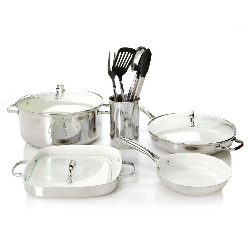 450-258 - Kevin Dundon Stainless Steel Color Ceramic Nonstick 12-Piece Cookware Set