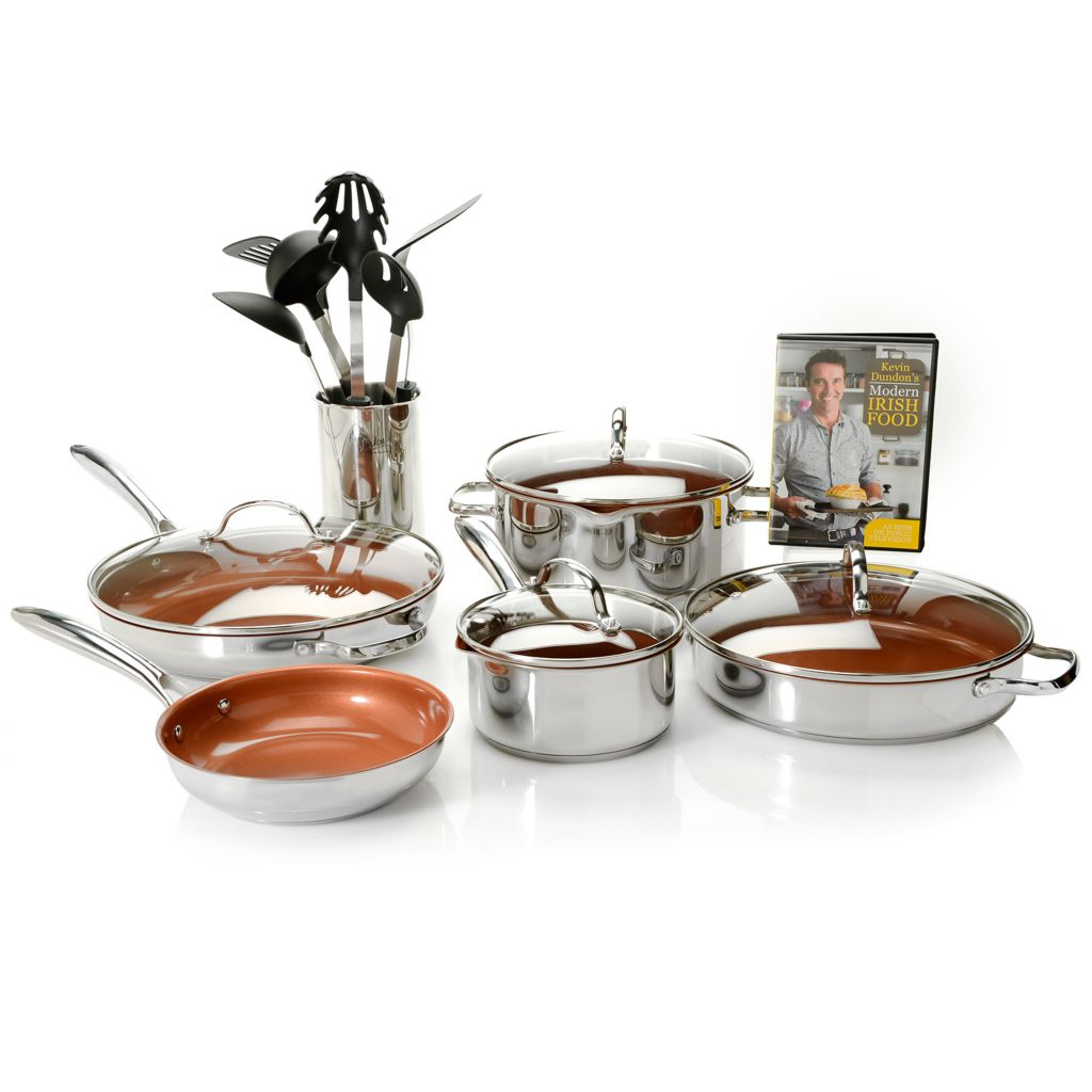 450-260 - Kevin Dundon Stainless Steel Color Ceramic Nonstick 17-Piece Cookware Set