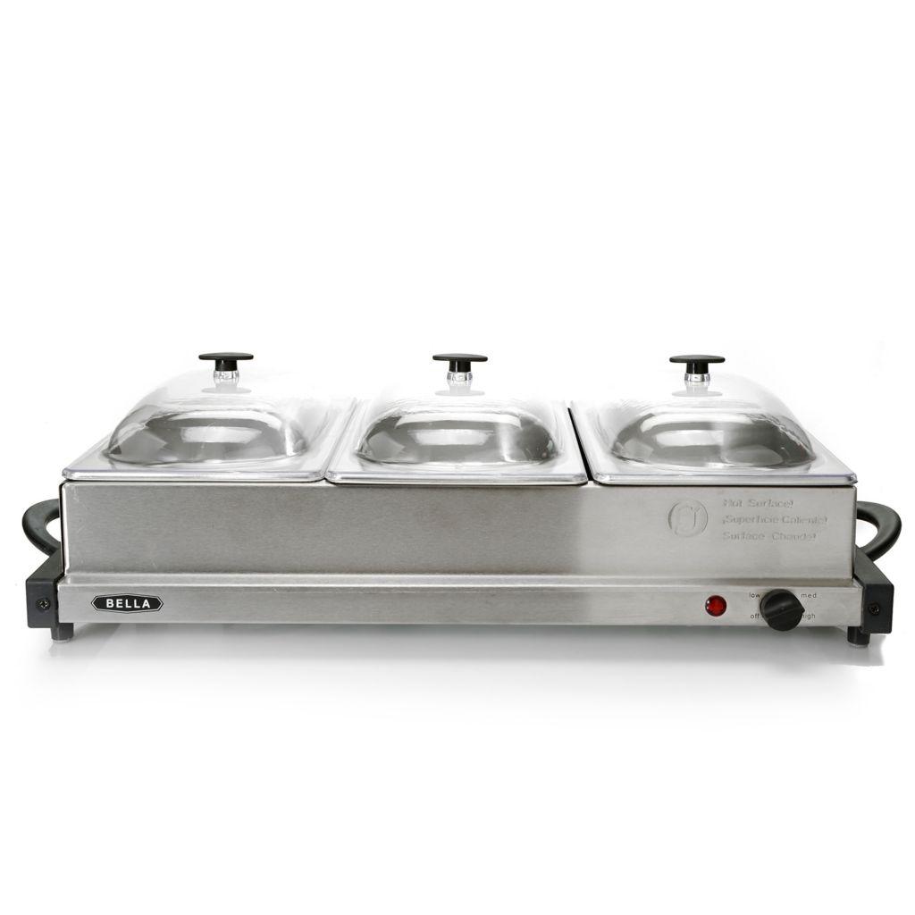 450-316 - Bella® 240W Stainless Steel Triple Buffet Server & Warming Tray
