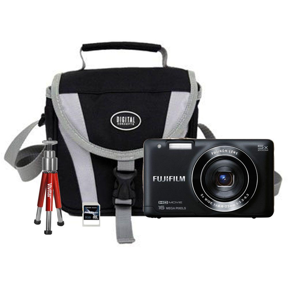 450-340 - Fujifilm FinePix 4-KIT 16MP LCD Digital Camera w/ Bag, Tripod & 8GB Memory Card