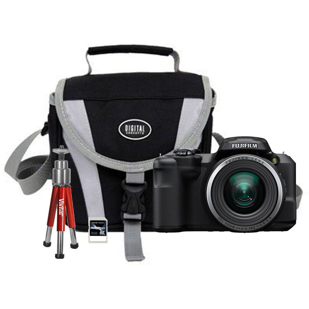 450-342 - Fujifilm FinePix 4-KIT 16MP Black Digital Camera w/ Bag, Tripod & 8GB Memory Card