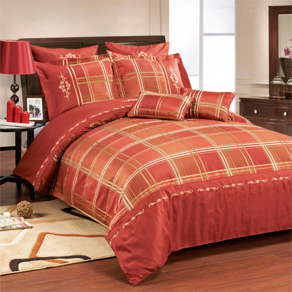 450-464 - Madison by Luxor Treasures Microfiber Layered Striped Seven-Piece Duvet Set