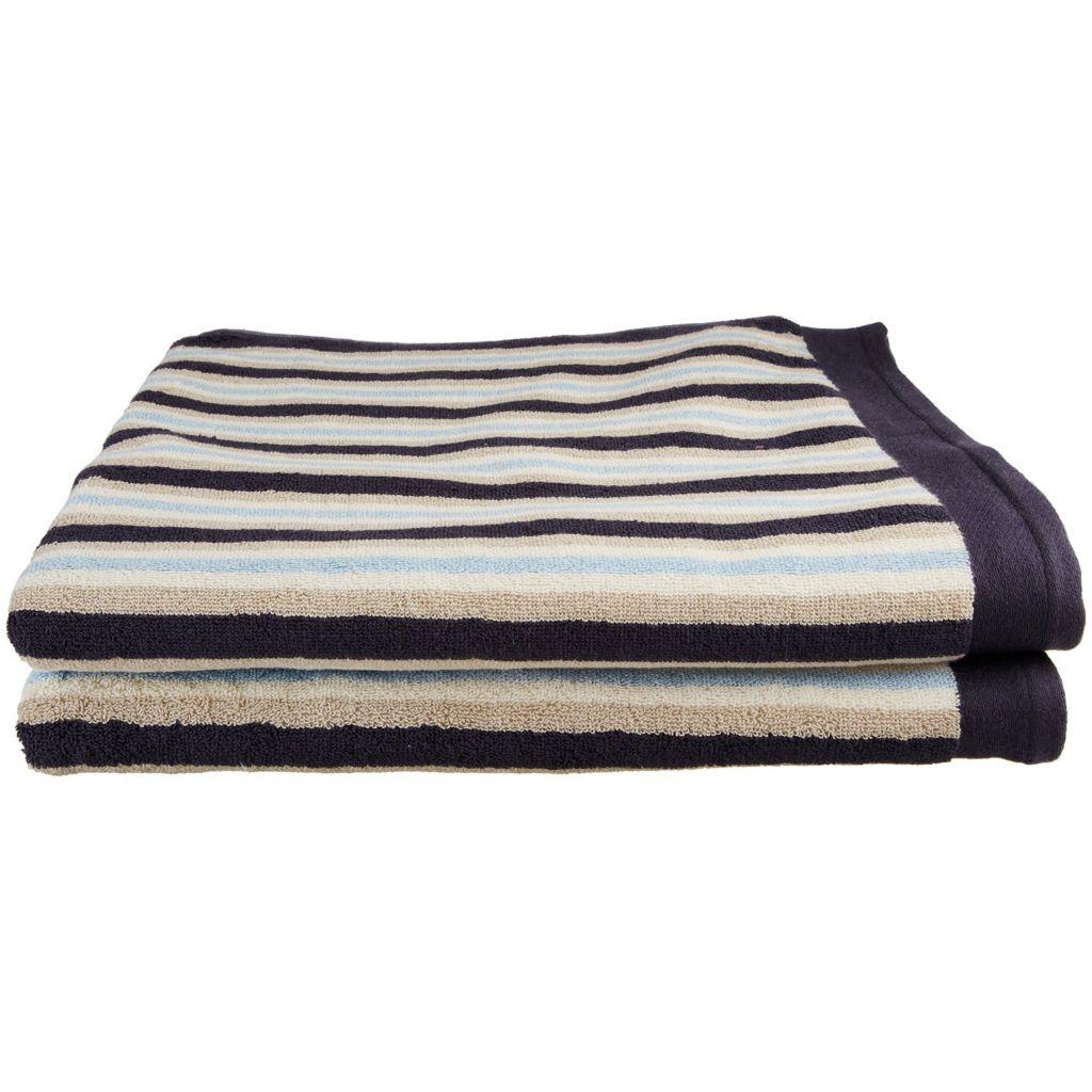 450-481 - Superior Two-Piece 550 GSM Egyptian Cotton Striped Bath Sheet Set