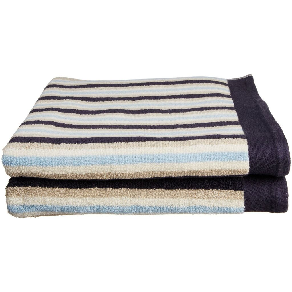 450-482 - Superior Two-Piece 550 GSM Egyptian Cotton Striped Bath Towel Set
