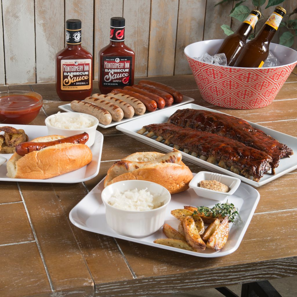 450-613 - Montgomery Inn Ribs & Queen City Sausages Variety Set w/ BBQ Sauce Duo