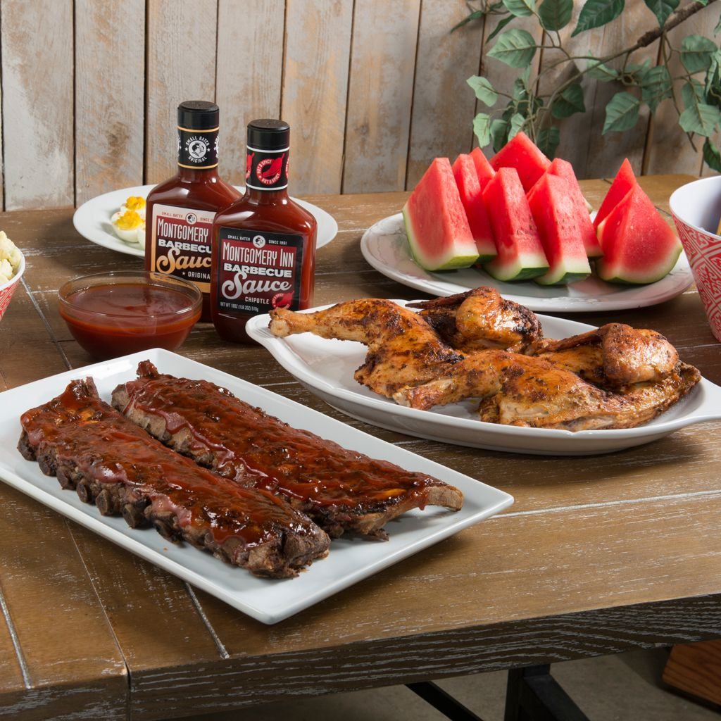 450-614 - Montgomery Inn Ribs & Fully Cooked Half Chickens w/ BBQ Sauce Duo