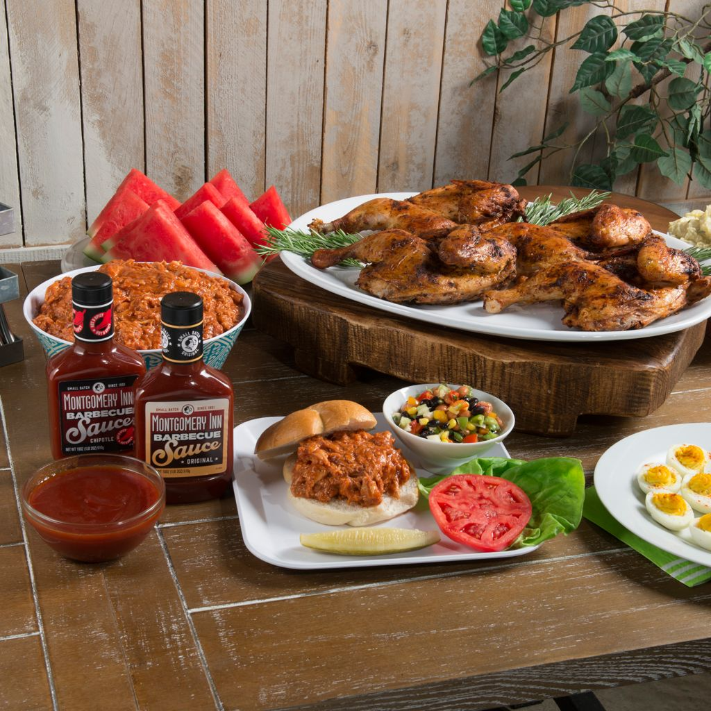 450-616 - Montgomery Inn Fully Cooked Half Chickens & Smoked Chicken BBQ w/ BBQ Sauce Duo
