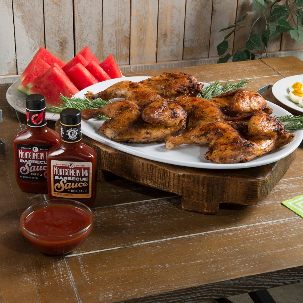 450-618 - Montgomery Inn Set of Four Fully Cooked Half Chickens w/ BBQ Sauce Duo