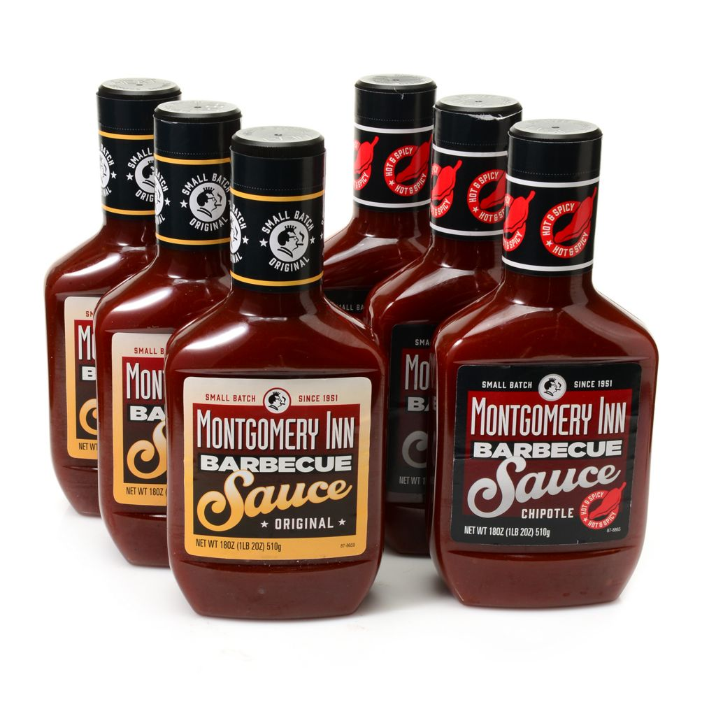 450-621 - Montgomery Inn Set of Six 18 oz Montgomery Inn, Chipotle or Combo BBQ Sauce Set
