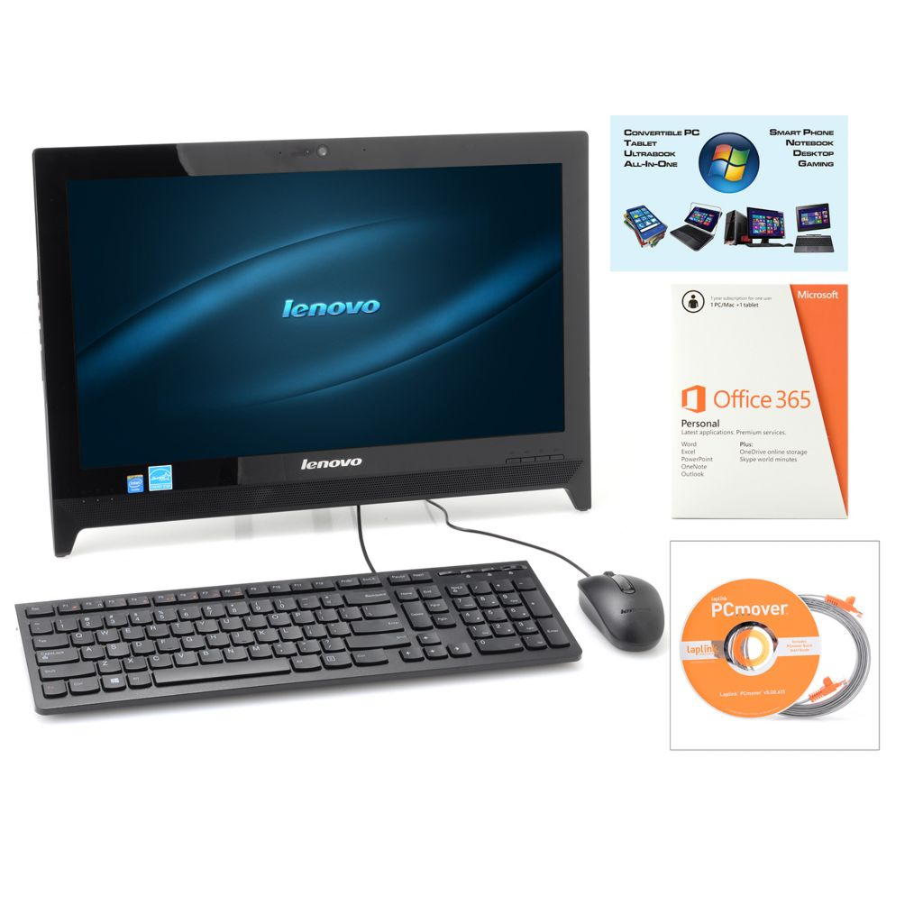 """450-713 - Lenovo 19.5"""" LED 4GB RAM/500GB HDD All-in-One PC w/ MS Office, PCmover & Software"""