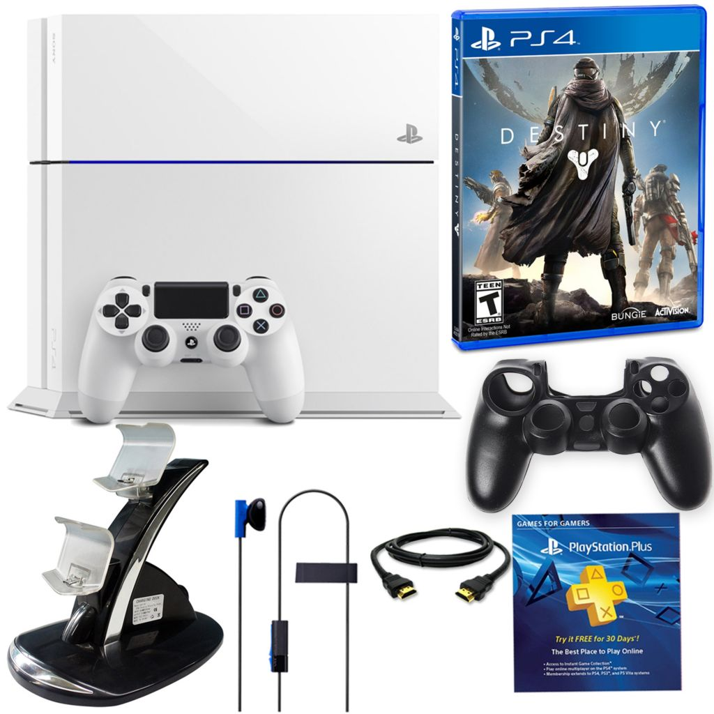 450-807 - PS4 500GB Exclusive Glacier White Destiny Gaming System Bundle w/ Accessories