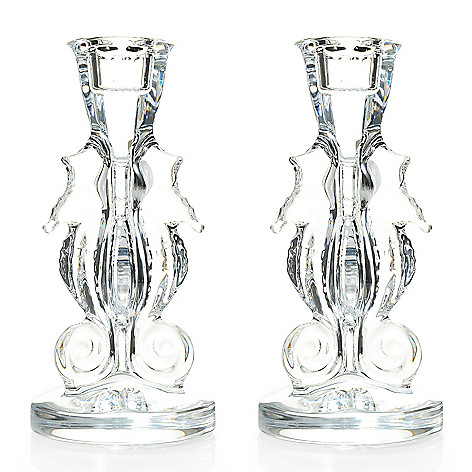 453-559 - Waterford Crystal Seahorse Set of Two 6'' Candlesticks