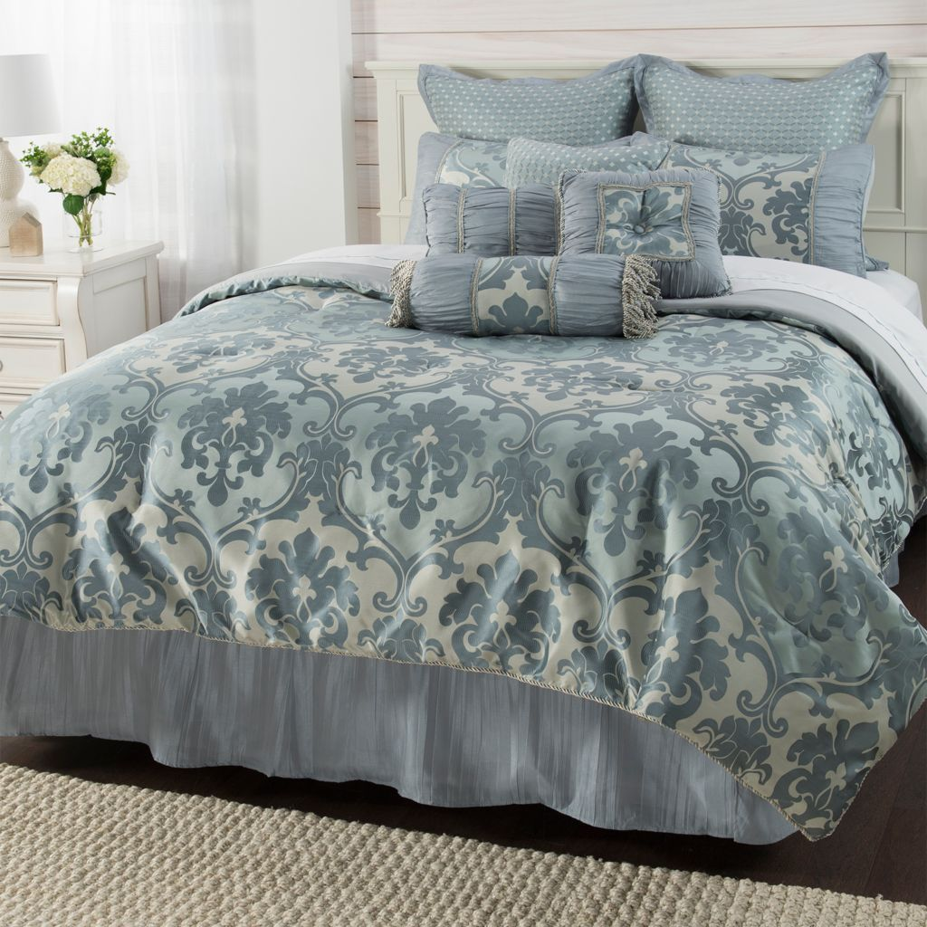 "paula deen home ""martha"" jacquard damask 10-piece comforter set"