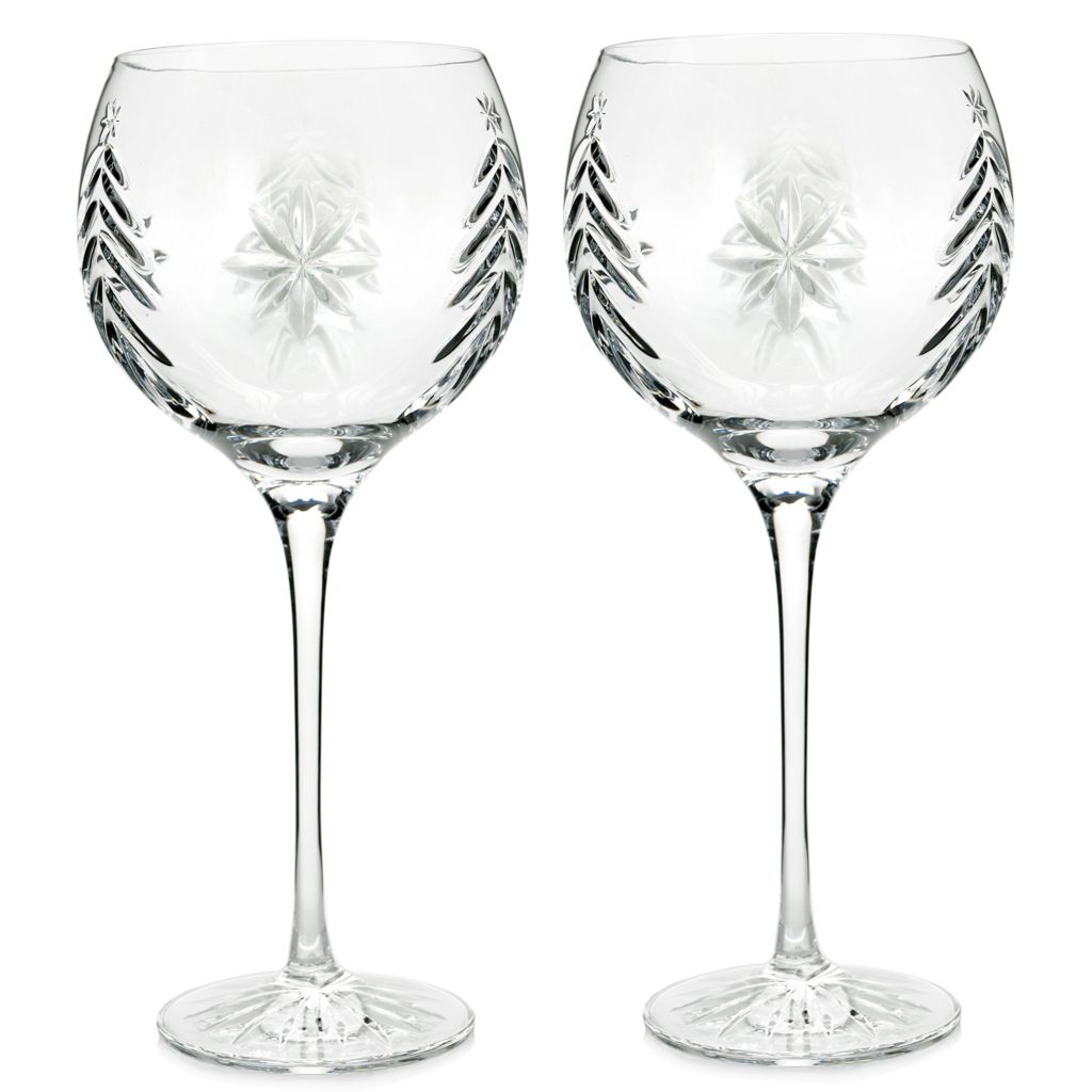 waterford crystal christmas nights set of two 12 oz wedge cut balloon wine glasses - Waterford Crystal Wine Glasses