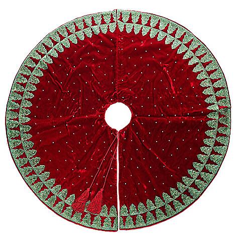 466 963 Sudha Pennathur Christmas Tree Handmade Simulated Pearl Velvet Skirt