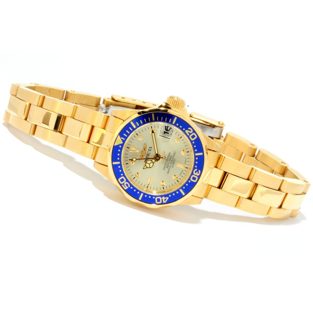 601-772 - Invicta Women's Pro Diver Quartz 18K Gold Plated Stainless Steel Bracelet Watch