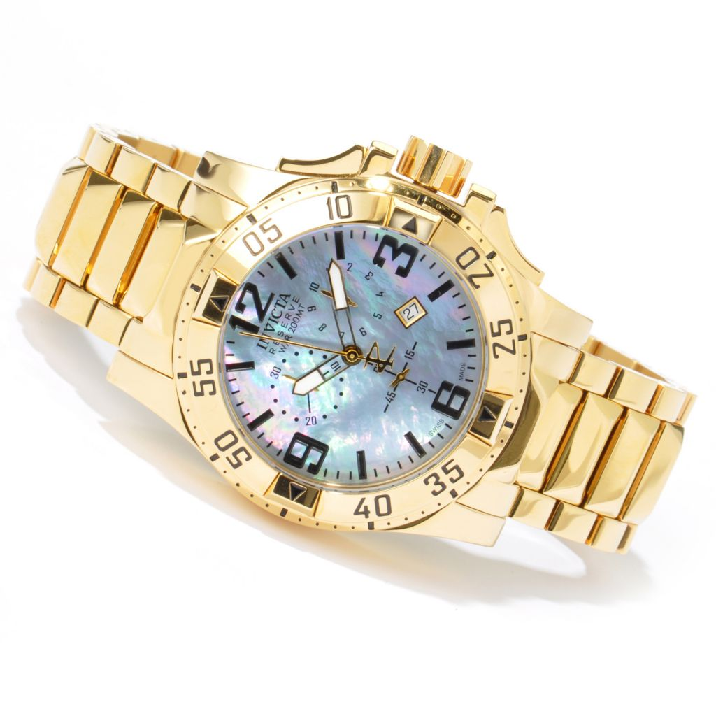 603-215 - Invicta Reserve Men's Excursion Swiss Quartz Mother-of-Pearl Dial Gold-tone Watch