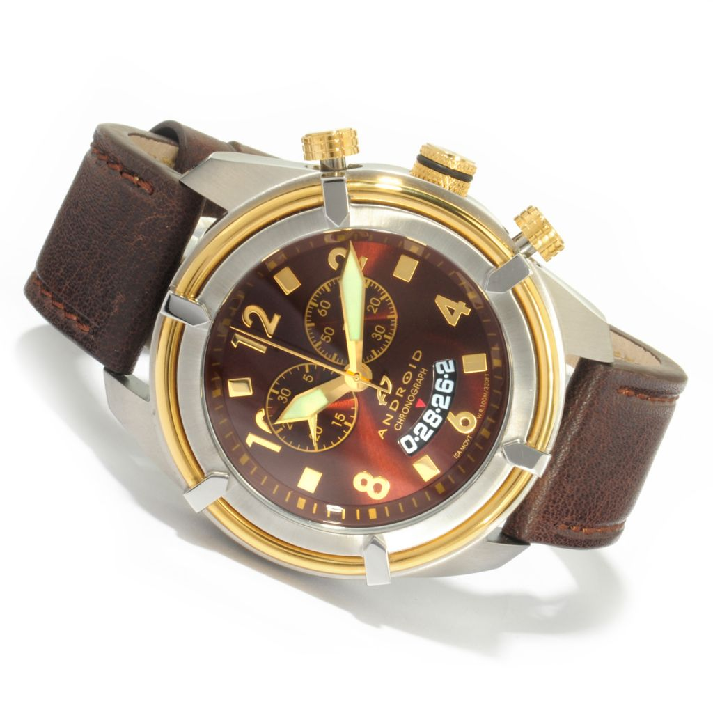 603-712 -  Android Men's Naval-2 Swiss Quartz Chronograph Leather Strap Watch