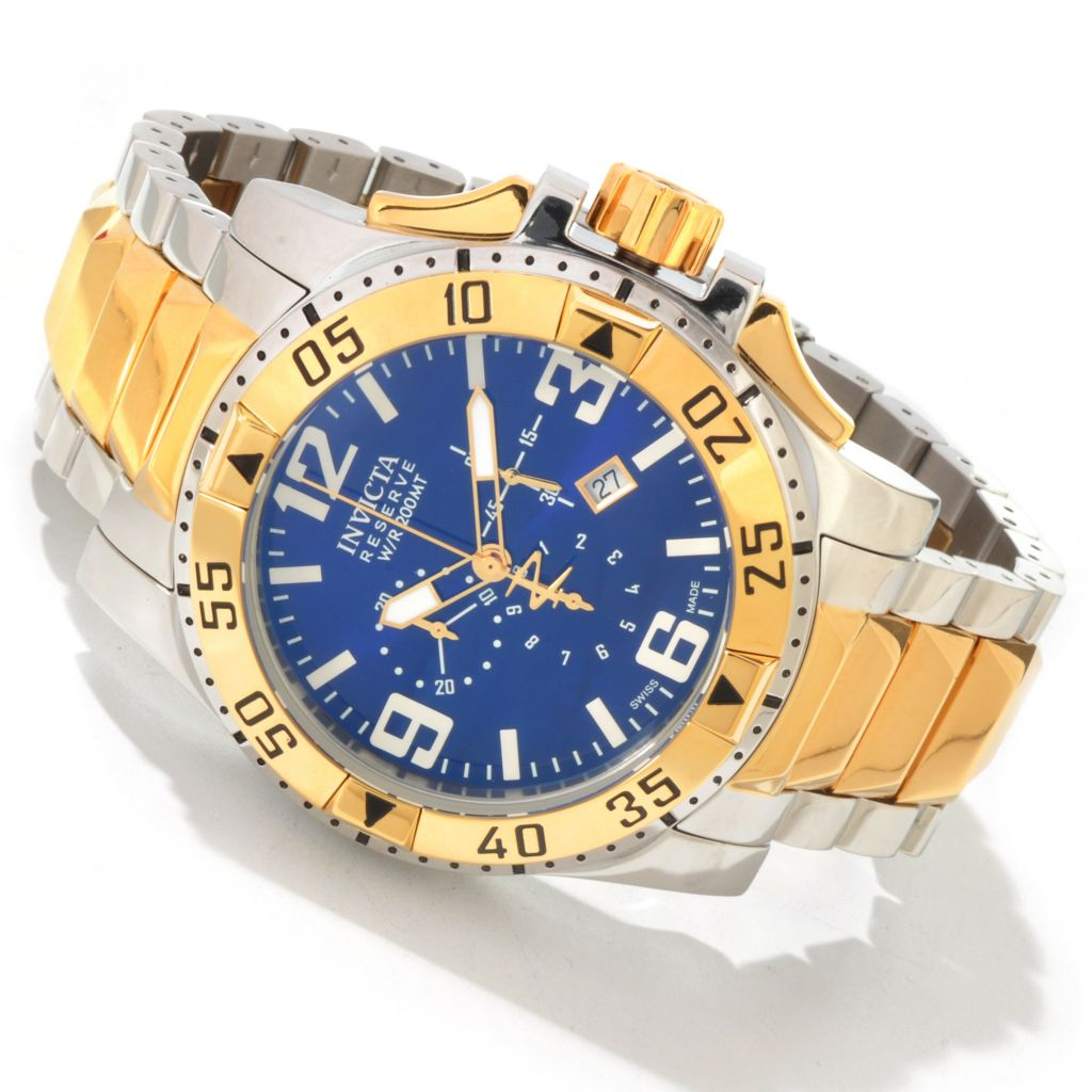 604-373 - Invicta Reserve 50mm Excursion Swiss Quartz 18K Gold-Plated Stainless Steel Bracelet Watch