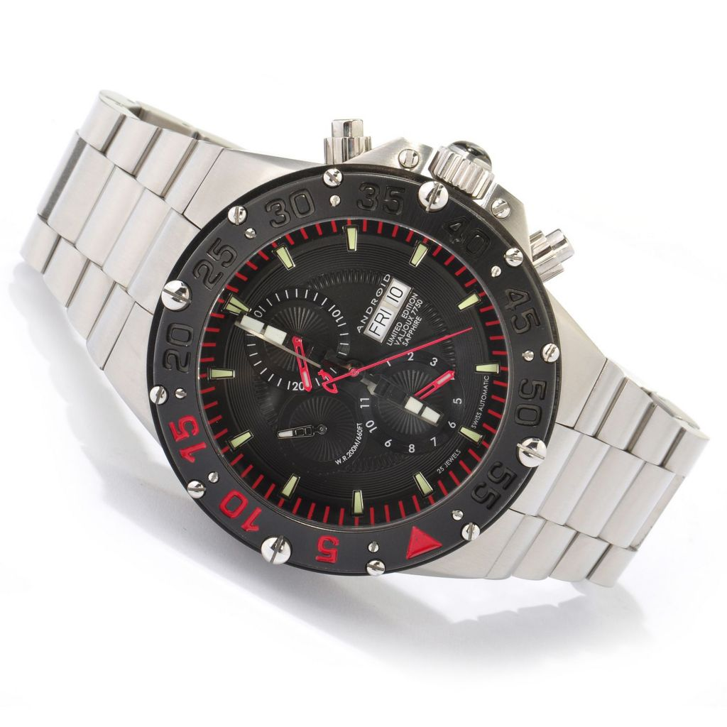 604-417 - Android 50mm Divemaster Enforcer Limited Edition Swiss Valjoux 7750 Stainless Steel Bracelet Watch