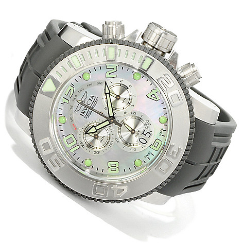 605-131 - Invicta Men's Sea Hunter Swiss Quartz Chronograph Mother-of-Pearl Dial Polyurethane Strap Watch