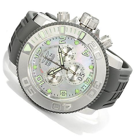 605-131 - Invicta 59mm Sea Hunter Swiss Quartz Chronograph Mother-of-Pearl Dial Polyurethane Strap Watch