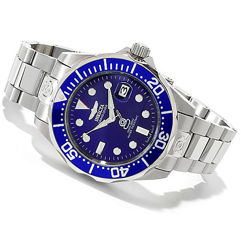 605-175 - Invicta 47mm Grand Diver Automatic Stainless Case Bracelet Watch w/ Three-Slot Dive Case