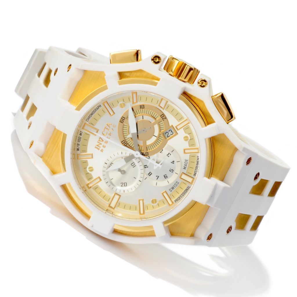 605-532 - Invicta Reserve 52mm Akula Swiss Quartz Chronograph Polyurethane Strap Watch