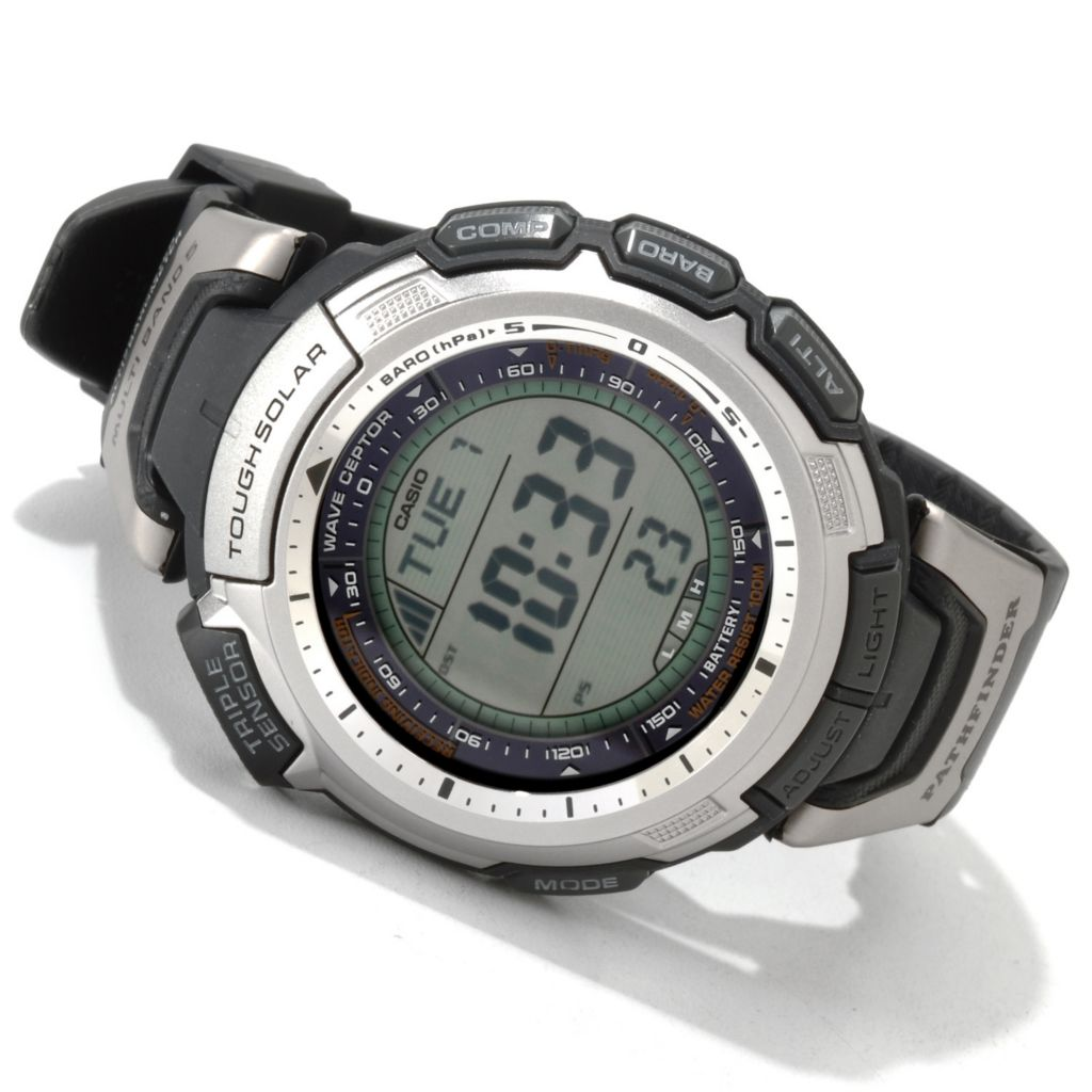 605-639 - Casio Men's Pathfinder Digital Quartz Rubber Strap Watch