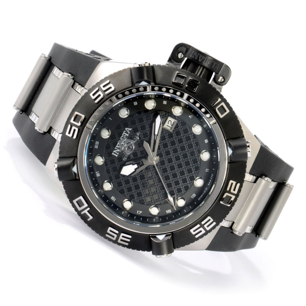 605-745 - Invicta 50mm Subaqua Noma IV Swiss Made Quartz GMT Polyurethane Strap Watch