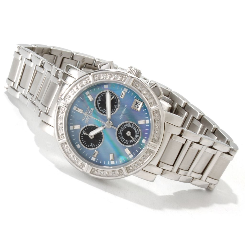 605-806 - Invicta Women's Angel Quartz Chronograph Diamond Accent Bracelet Watch
