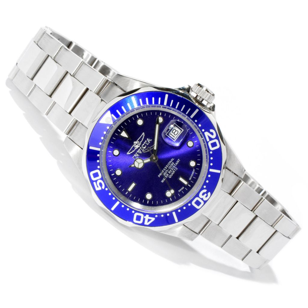 606-010 - Invicta Men's Pro Diver Quartz Sunray Dial Stainless Steel Bracelet Watch