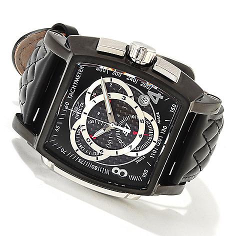 606-046 - Invicta Men's S1 Rally Swiss Quartz Chronograph Tachymeter Carbon Fiber Dial Leather Strap Watch