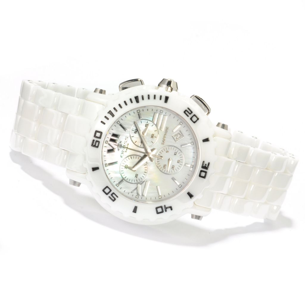606-102 - Oniss Women's Vivid Quartz Chronograph Mother-of-Pearl Dial Ceramic Bracelet Watch