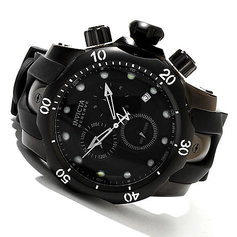 606-141 - Invicta Reserve 52mm Venom Swiss Made Quartz Chronograph Polyurethane Strap Watch w/ Eight-Slot Dive