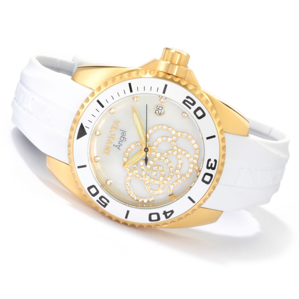 606-255 - Invicta Women's Angel Quartz Crystal Flower Stainless Steel Strap Watch