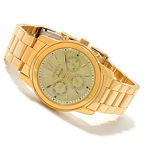 606-658 - Invicta Women's Angel GMT Mother-of-Pearl Stainless Steel Bracelet Watch